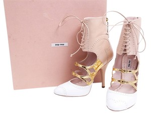 Miu Miu Nude Gold White Leather Pump Nude/Gold/White Boots