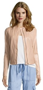 Vince Leather Perforated Fitted Casual BONE (Nude) Leather Jacket