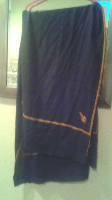 Black with Golden Trim Oversized Wool Scarf/Wrap Black with Golden Trim Oversized Wool Scarf/Wrap Image 1