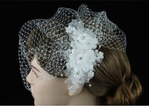 Lucya Beautiful Crystal Floral Bridal Birdcage Veil - White