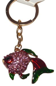 New Crystals Fish Key Ring Keychain Gold Tone J1889