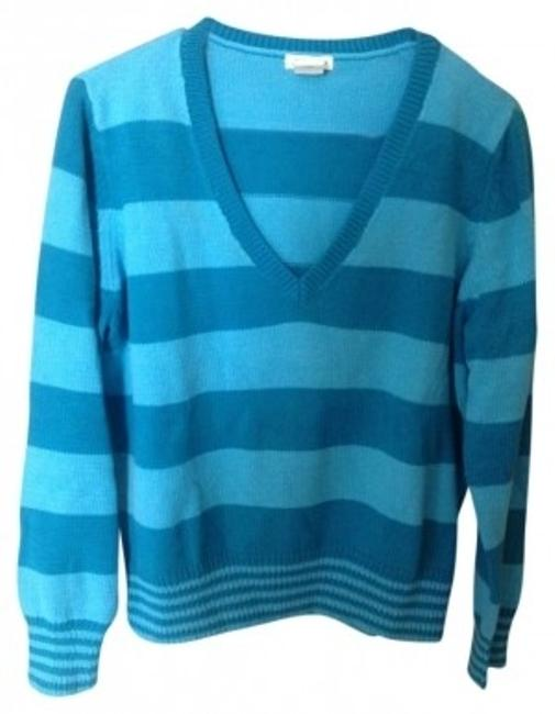 Preload https://img-static.tradesy.com/item/113022/st-john-blue-striped-v-neck-sweaterpullover-size-16-xl-plus-0x-0-0-650-650.jpg