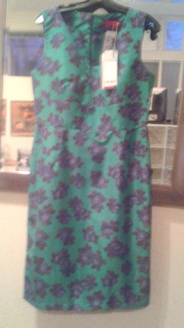 Item - Green with Black From Saks Fifth Avenue Mid-length Cocktail Dress Size 10 (M)