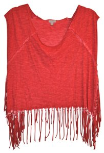 Ecote Fringe Tie Dye India Boho T Shirt Red