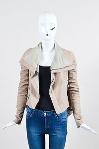 Rick Owens Leather Knit Panel Long Sleeve Beige Jacket