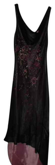 BROWN/PINK Maxi Dress by Laundry by Shelli Segal Size 4 Beaded Embellished High Low