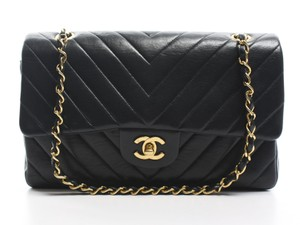 Chanel Lambskin Chevron Double Flap Shoulder Bag