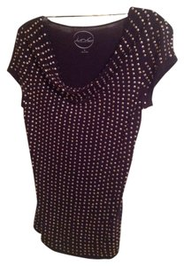 INC International Concepts Top Black with Gold Sequence