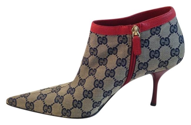 Item - White Red and Navy Blue Monogram Pointed Boots/Booties Size US 9 Regular (M, B)