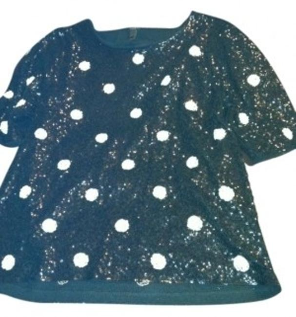 Preload https://item1.tradesy.com/images/jcrew-black-and-white-sequin-dots-tunic-size-12-l-11305-0-0.jpg?width=400&height=650