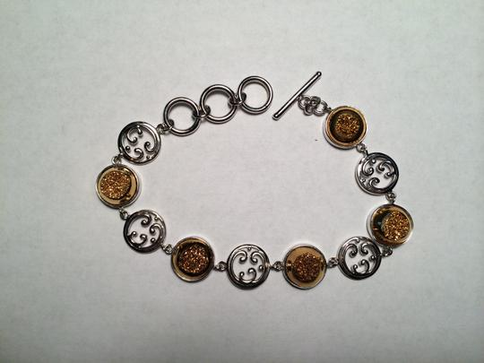 Other Gold Drusy & Sterling Silver Toggle Bracelet