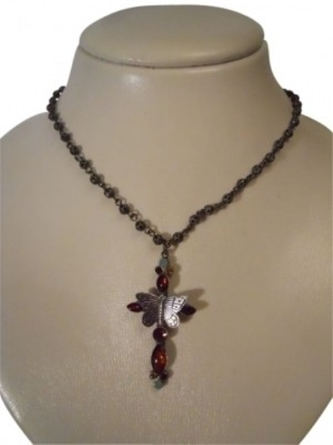 Pewter Butterfly Cross Necklace Pewter Butterfly Cross Necklace Image 1