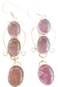 Genuine Amethyst Long Sterling Silver Dangle Earrings