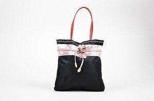 Prada Pink Red Nylon Silk Leather Flower Top Stitch Mini Tote in Black