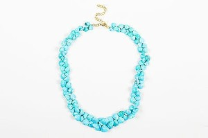 Turquoise Faceted Teardrop Beaded Short Necklace