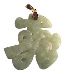 Vintage Vintage 14k Solid Yellow Gold Apple Green Longevity Jade Pendant