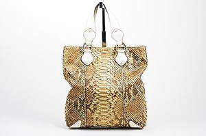 Gucci Taupe Cream Gold Tote in Brown