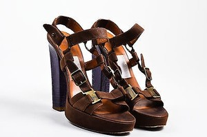 Lanvin Suede Croc Buckle Platform Heels Brown Sandals