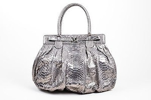 Zagliani Metallic Python Leather Puffy Handbag Hobo Bag