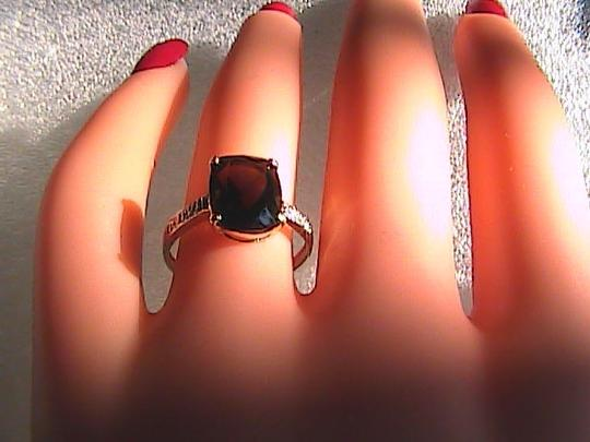 Unknown 10k Solid Yellow Gold 3.0 cts Cushion Cut Smokey Topaz & Diamond Ring