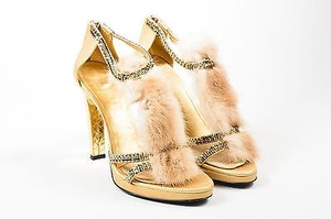Gucci Metallic Leather Mink Fur Embellished T Strap Heel Gold Sandals