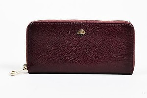 Mulberry Mulberry Oxblood Natural Leather Tree Zip Around Continental Wallet