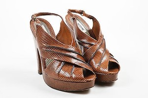 Moschino Leather Lizard Brown Sandals