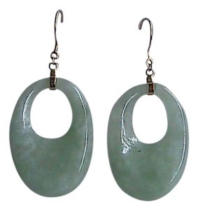 14k Solid Yellow Gold Apple Green Jade Dangling Earrings