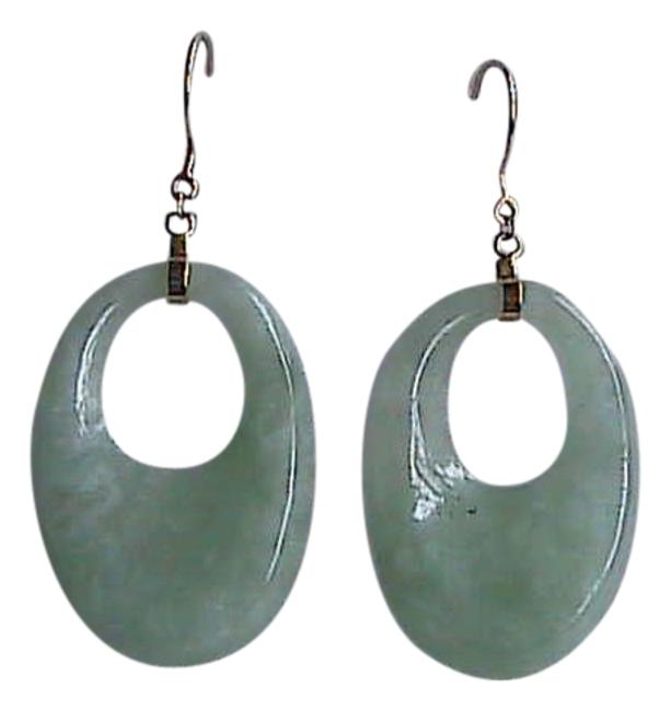 14k Yellow Gold Jade Solid Apple Green Dangling Earrings 14k Yellow Gold Jade Solid Apple Green Dangling Earrings Image 1