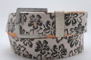 Other Women Boho Belt Fashion Light Brown Faux Leather Black Flowers Square Buckle