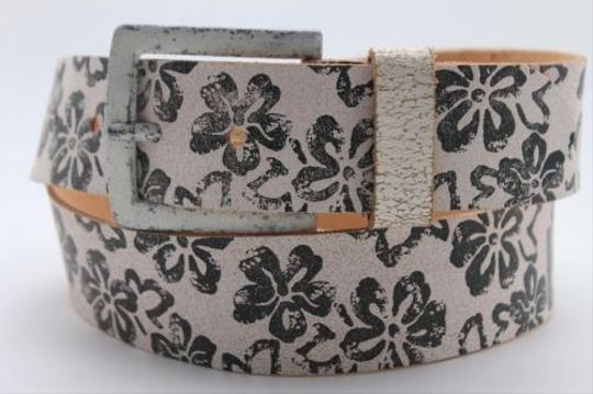 Alwaystyle4you Women Boho Belt L Brown Faux Leather Black Flowers Square Buckle Image 6