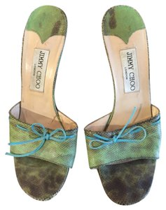 Jimmy Choo Green Snakeskin w/turquoise details Mules