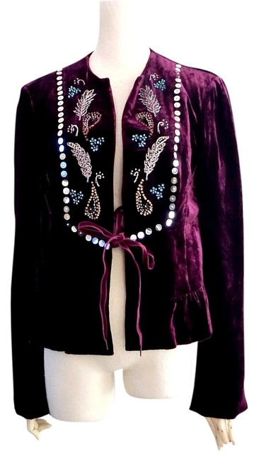 Nanette Lepore Pink Beads Embroidery Jacket Blazer Size 6 (S) Nanette Lepore Pink Beads Embroidery Jacket Blazer Size 6 (S) Image 1
