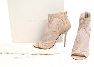 Jimmy Choo Leather Suede Ankle Nude Boots