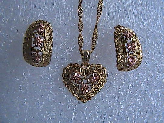 Unknown Diamond Cut 2 tone 10k Yellow Gold Earrings & Necklace Set