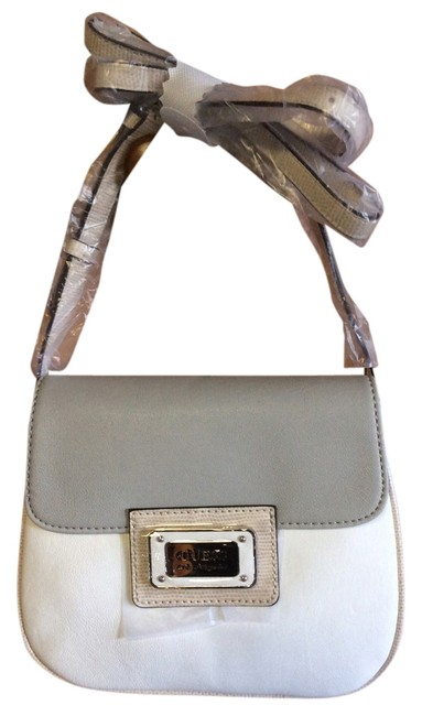 Guess Kabrina Ivory/Gray Faux Leather Cross Body Bag Guess Kabrina Ivory/Gray Faux Leather Cross Body Bag Image 1