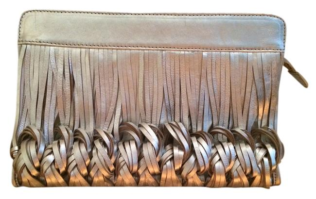 Katherine Kwei Silver Leather Clutch Katherine Kwei Silver Leather Clutch Image 1