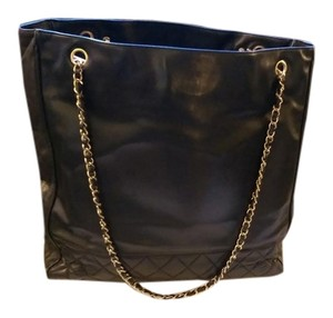 Chanel Vintage Quilted Leather Tote in Black