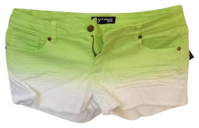 Item - Cream and Lime Neon Ombré Denim Shorts Size 8 (M, 29, 30)