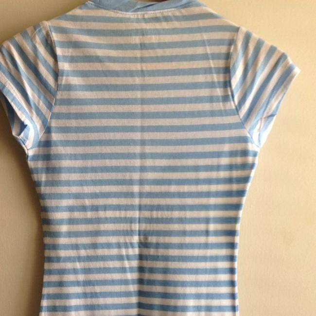 PINK T Shirt Blue And White Stripes