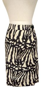 Ann Taylor Zebra Abstract Silk Wool Skirt Cream/light gold & black