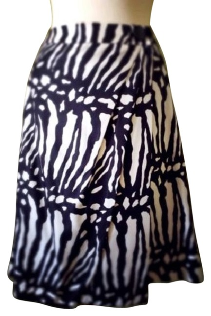 Ann Taylor Zebra Abstract Silk Wool Skirt Cream/light gold & black Image 1
