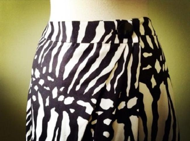 Ann Taylor Zebra Abstract Silk Wool Skirt Cream/light gold & black Image 2