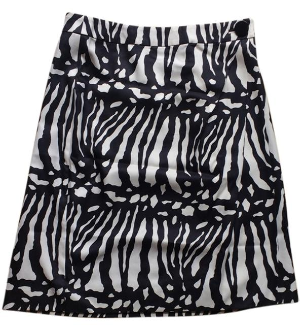 Ann Taylor Zebra Abstract Silk Wool Skirt Cream/light gold & black Image 3