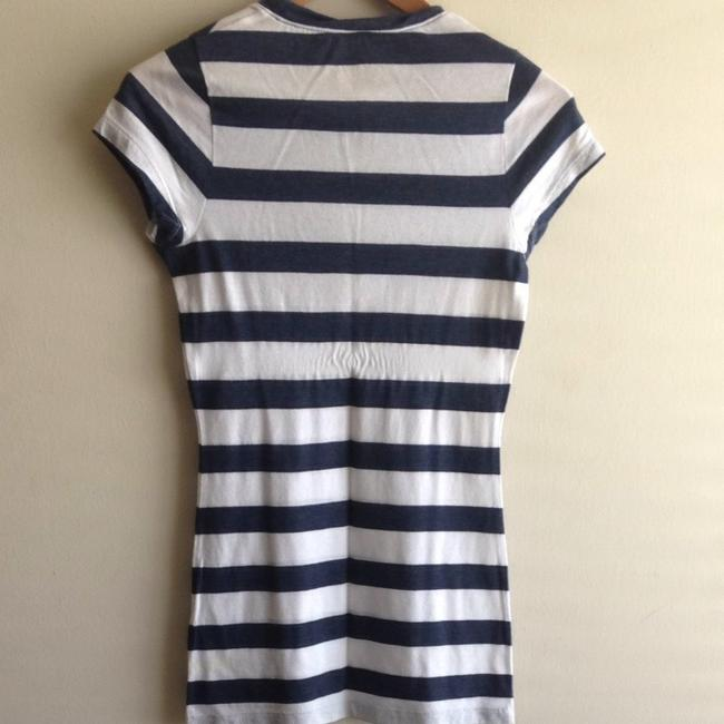 PINK T Shirt Navy Blue And White Stripes