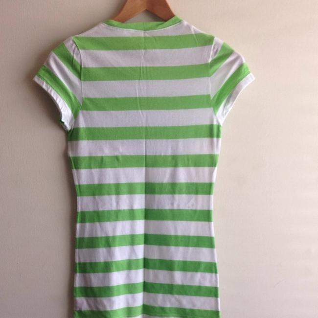 PINK T Shirt Green And White