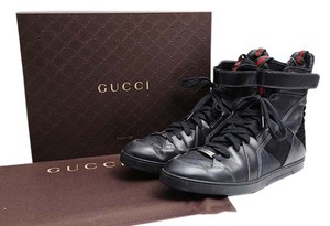 Gucci Mens Hi Tops Sneakers Ankle Strap Black Athletic