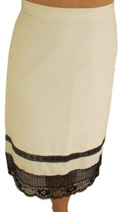Club Monaco A Line Midi Skirt Cream and Black