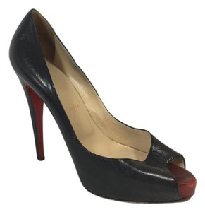 Christian Louboutin Platform Leather Peep Toe Black Pumps
