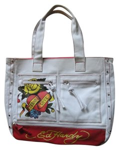 409407c185c4 Ed Hardy Studs Graphic Casual Zipper Pockets Everyday Use Tote in white red